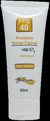Protetor Solar Facial FPS 40 com Vital ET e Vitamina E - Toque Sedoso 60g  Bioexotic