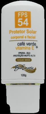 Protetor Solar FPS 54 com Café Verde e Vitamina E Toque Seco - Corporal e Facial 120g Bioexotic