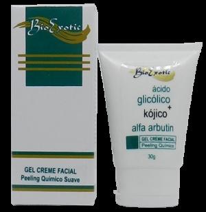 Gel Creme Facial com Ácido Kójico, Ácido Glicólico e Alfa Arbutin 30g Bioexotic