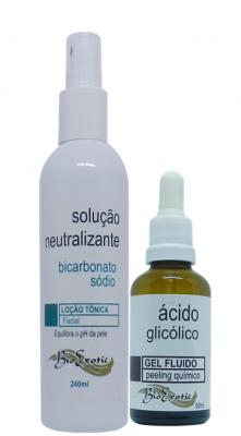 3 Frascos De Gel Fluido De Ácido Glicólico 10% +  3 Frascos De Solução Neutralizante De Ácidos Bioexotic