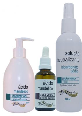 Kit Gel Fluido de Ácido Mandélico 10% + Sabonete de Ácido Mandélico + Solução Neutralizante Bioexotic
