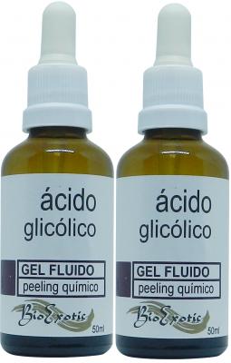 2 Frascos de Gel Fluido Facial de Ácido Glicólico 10% Profissional Bioexotic