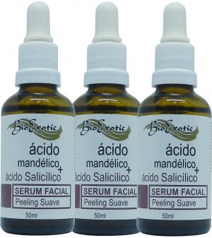 3 Frascos de SERUM FACIAL COM ÁCIDO MANDÉLICO E ÁCIDO SALICÍLICO 50ml  Bioexotic