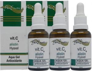 3 Frascos de Aqua Gel Facial com Vitamina C, Alistin e Hyaxel Bioexotic
