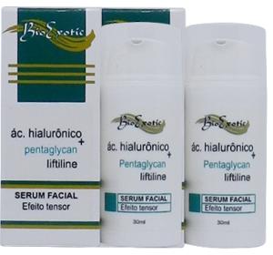 2 Frascos de Serum Facial com Ácido Hialurônico, Liftiline, Pentaglycan e Hidroviton Bioexotic