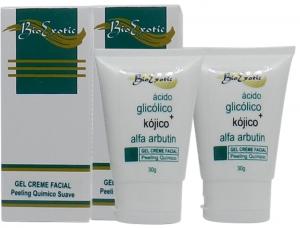 2 Frascos Gel Creme Facial com Ácido Kójico + Alfa Arbutin + Ácido Glicólico 30ml Bioexotic