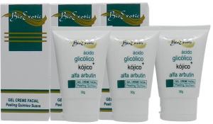 3 Frascos Gel Creme Facial com Ácido Kójico + Alfa Arbutin + Ácido Glicólico 30ml Bioexotic
