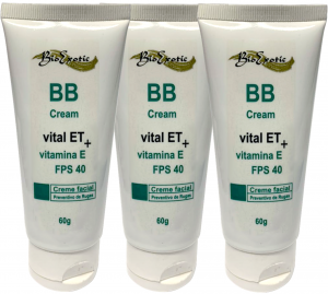 3 Bisnagas BB CreamFPS 40 com Vital ET e Vitamina E Bioexotic