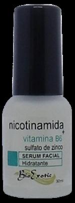 3 Frascos de Serum Facial com Nicotinamida, Sulfato de Zinco e Vitamina B6  Bioexotic